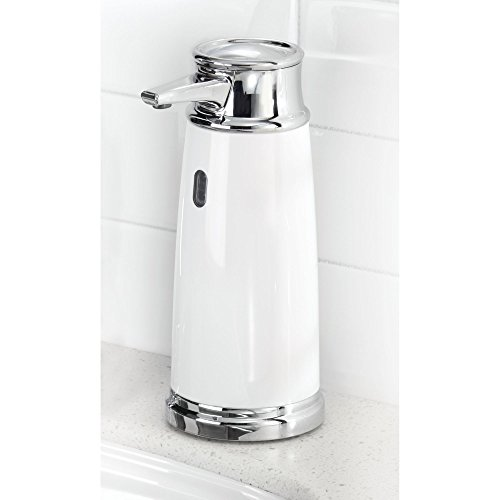 mDesign Decorative Hands Free, Touchless Automatic Hand Soap Dispenser Pump with Infrared Motion Detector Activated Sensor Light for Kitchen and Bathroom Sinks, Countertops - White/Chrome
