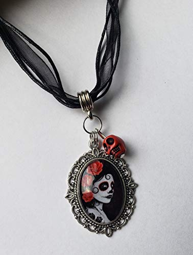 Day of the Dead Sugar Skull Necklace Glass Pendant Cameo Black