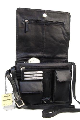 Negro y cuero 754 Bolso ATLANTIC portátil bandolera Kindle iPad organizador para apto de Visconti w6gaqpwx