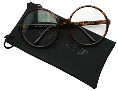 Vintage Inspired Round Super Oversized Clear Lens Fashion Circle Eye Glasses (Tortoise, - Glasses Round Plastic