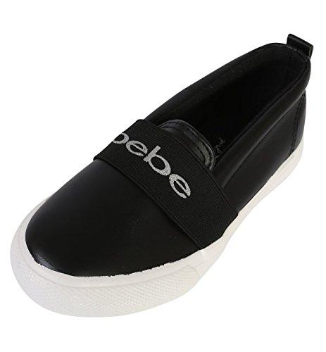 bebe Girls Slip On Metallic Fashion Sneaker, Black, 7-8 M US Toddler'