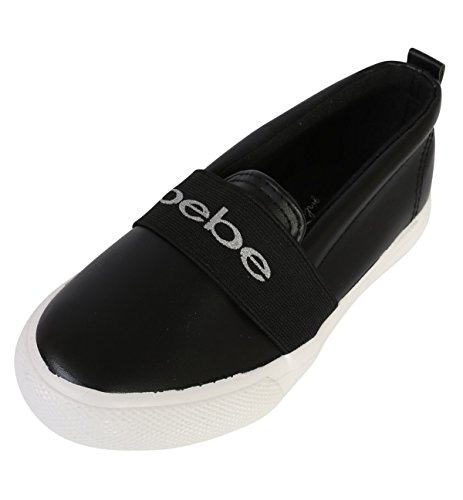bebe Girls Slip On Metallic Fashion Sneaker, Black, 11-12 M US Little Kid'