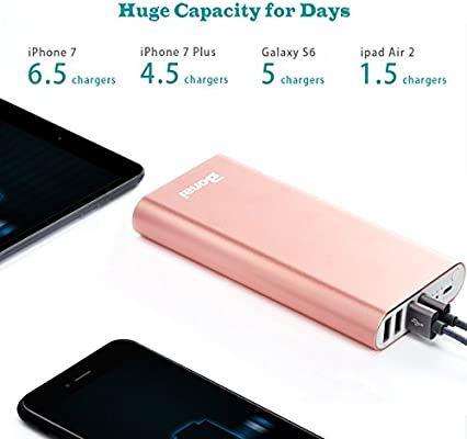 High-Speed Charging Compatible iPhone X 8 7+ Plus Samsung S9 S8 iPad Tablet 4 USB Output Ports 4.8A Black Power Bank Portable Charger 20000mAh BONAI iPhone Charger Aluminum External Battery Pack
