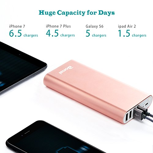iPhone Charger, Bonai Portable Charger 20000mAh, Aluminum Polymer External Battery Pack 4.0A Max Lightning & Mirco Input 4-Port Output for iPhone 7 7 plus 6s 8 Galaxy S8 S7 Note 8 & Tablet -Rose Gold by Bonai (Image #1)