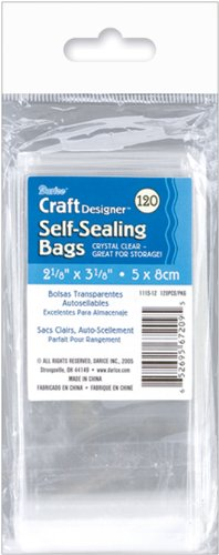 Darice 1115-12 120-Pack Plastic Acid Free Self Sealing Bags, 2-1/8 by 3-1/8-Inch, Clear