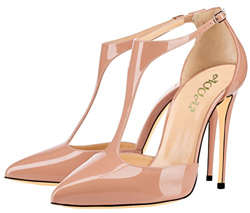 Heel High Party T Shoes Strap Ankle AOOAR Patent Pumps Womens Nude IXq1EH