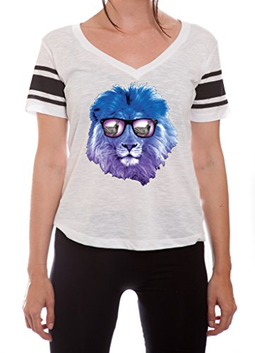 YM Wear Lion Galaxy Logo Glasses with Zebra Casual Hispter Summer Striped Baseball Shirt Large White with Black - Hispter Glasses