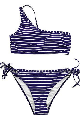 CUPSHE Women's Pink White and Blue One Shoulder High Waisted Bikini (Large (USA 12 14), Blue - Suit Stripe Micro