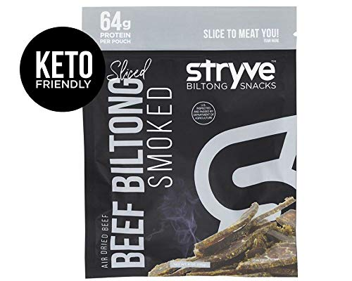 Stryve Keto Protein Snacks | 100% All-Natural Beef Biltong | More Protein Than Beef Jerky, Gluten Free, Low Carb, Paleo, Sugar Free | Smoked, 4oz ()