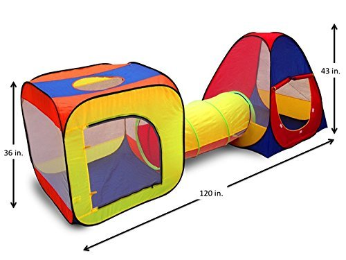 Kids Play Tent with Tunnel for Indoor and Outdoor Use- Extra Large Size by Kid Party - Hut Web Little
