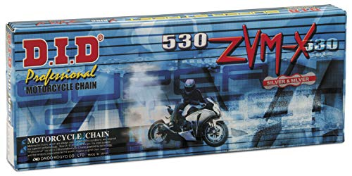 DID Chain 110 Links 530 ZVMX X-Ring (), open, with rivet link.