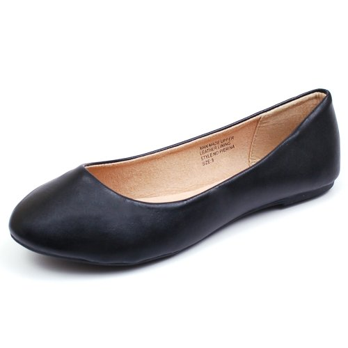 ddbc55a0246 alpine swiss Women s Black Leather Pierina Ballet Flats 9 M US - Buy Online  in UAE.