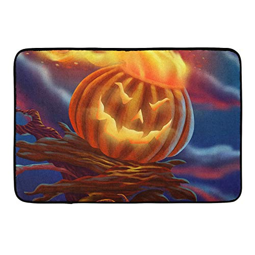 CIGOCI Ultra Soft Solo Indoor Morden Shaggy Area Rugs Pads, Halloween Pumpkin Fire Bedroom Livingroom Sitting Room - Rugs Blanket Footcloth for Home Decorate Size: 18 X 36 Inch -