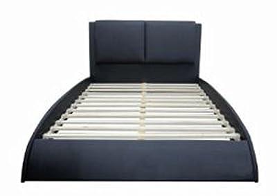 Flex Form Alpine Upholstered Platform Bed Frame with Headboard: Faux Leather, Black, Twin