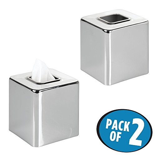 Toilet Paper Holder Set Square (mDesign Square Facial Tissue Box Cover Holder for Bathroom Vanity Counter Tops, Bedroom Dressers, Night Stands, Desks and Tables - Pack of 2, Chrome)
