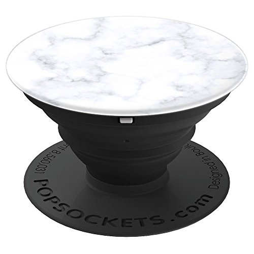Marble Stone Rock Design White and Gray Natural Rock - PopSockets Grip and Stand for Phones and Tablets