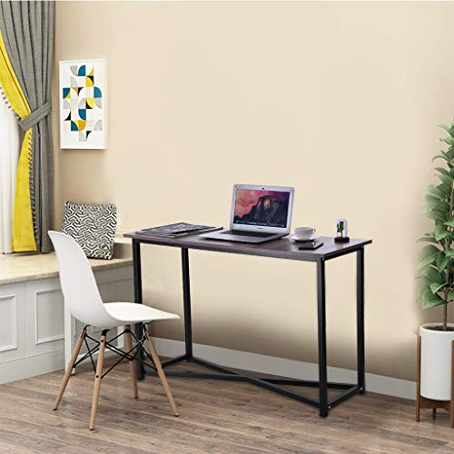 Fulijie Vintage Home Office Computer Desk Laptop Coffee Table Wood Steel Small Long Table 43.3x15.7x29.5 Inches(LWH) (Gray) (Vintage Garden Furniture Ireland)