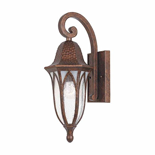 World Imports 7 in. Burnished Antique Copper Outdoor Wall Sconce with Clear Seedy Glass