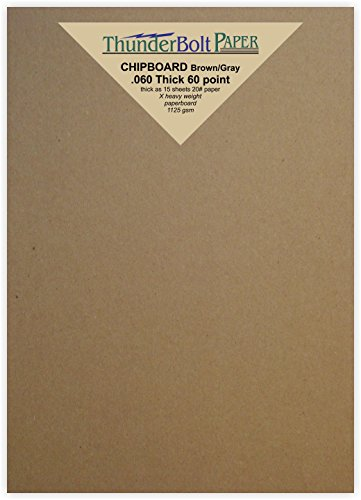 50 Sheets Brown/Gray Chipboard 60 Point Extra Thick 5'' X 7'' (5X7 Inches) Photo|Card|Frame Size .060 Caliper Extra X Heavy Cardboard as Thick as 15 Sheets 20# Paper by ThunderBolt Paper