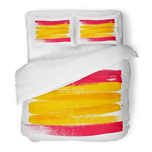 Emvency Bedding Duvet Cover Set King Size (1 Duvet Cover + 2 Pillowcase) Watercolor Spanish Spain Colorful Brush Strokes National Country Flag Paint World Hotel Quality Wrinkle and Stain ()