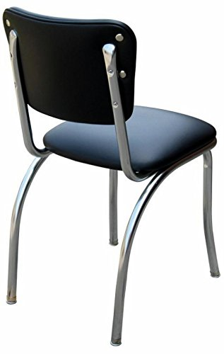 "Budget Bar Stools 4110BLK Diner Chair with 1"" Seat, Steel, 15.25"" L x 15.25"" W x 31"" H, Night Black"