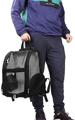 Mochila de viaje de lujo para mascotas con ruedas dobles color negro aprobado por la mayoría de aerolíneas 5