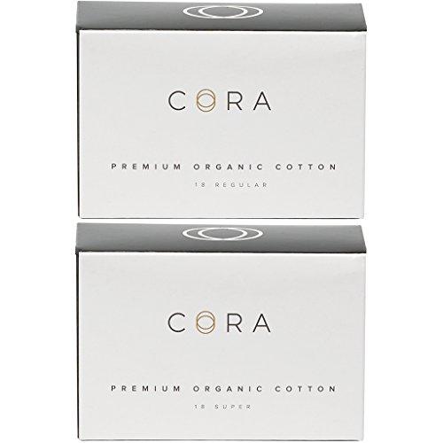Cora Variety-Pack Organic Cotton NON-APPLICATOR Tampons (36 Count; 18 Regular & 18 Super APPLICATOR-FREE, (Certified Organic Tampons Non Applicator)