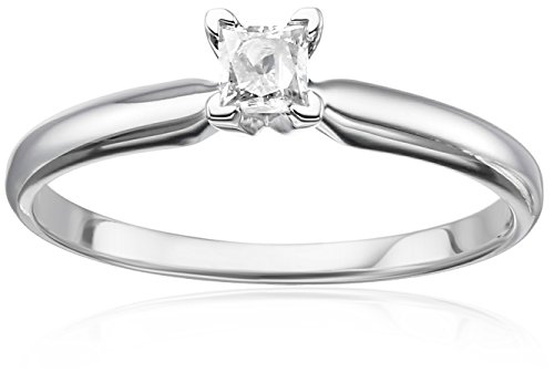 Princess Diamond Engagement Ring Setting - 14k White Gold Princess Solitaire Diamond Engagement Ring (1/4 cttw, H-I Color, I2-I3 Clarity), Size 8