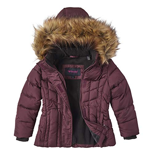 Girls Quilted Fleece Lined Winter Puffer Jacket Coat Faux Fur Trim Zip-Off Hood - Merlot (7/8)