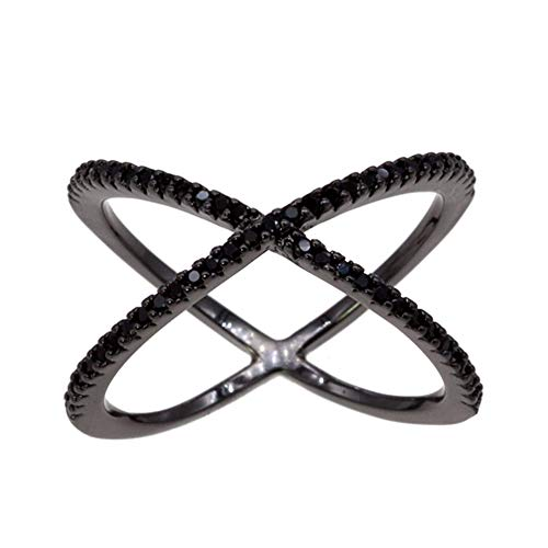 - Lavencious Single X Cross Rings Criss Trendy Fashion Statement Clear CZ Cocktails Jewelry for Women (Jet Black, 9)
