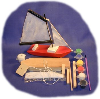 Sailboat Wood Craft Kit with Paint, Glue & Brush