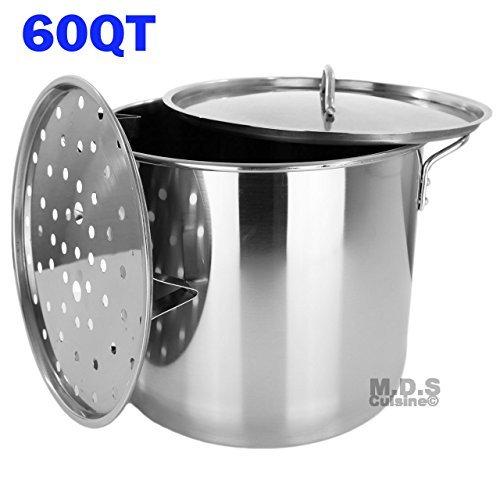 Stock Pot Stainless Steel 60 QT Steamer Brew Vaporera Tamale