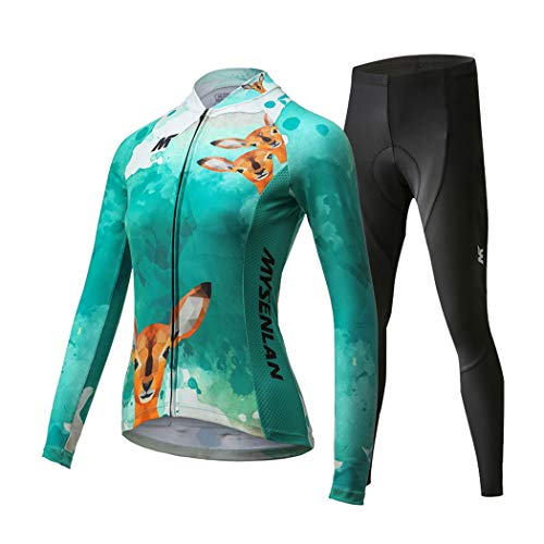 (Mysenlan Women's Cycling Long Sleeve Breathable Jersey Set 3D Padded Long Pants Bike Shirt Bicycle Tights Clothing Green)