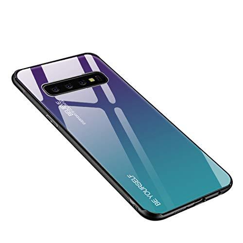 Luhuanx Samsung Galaxy S10 Plus Case, Tempered Glass Gradient Color Pattern+TPU Frame Hybrid Slim case for Galaxy S10+, Samsung S10 Plus Case Anti-Scratch Anti-Drop ()