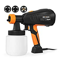 Paint Sprayer, Meterk 800ml/min HVLP Electric Paint Gun with 3 Spraying Patterns 3 Nozzle Sizes Adjustable Valve Knob Quick Refill Lid Detachable Container Replaceable Air Filter Painting Sprayer