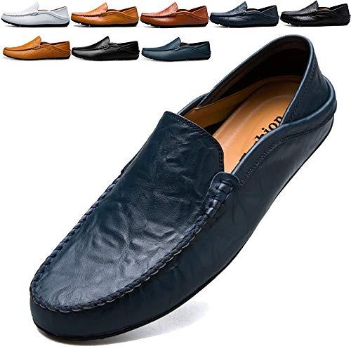 Chaussures Bleu Flâneurs Fait 46 Cuir On Véritable Bolog Mocassins lcFKJ1
