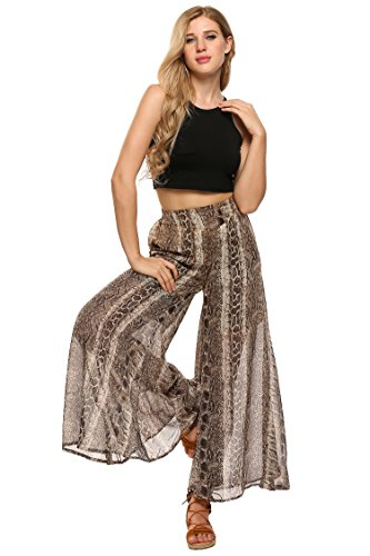 Women Wide Leg High Fold Over Waist Printed Boho Palazzo Pants Plus Size,Snake Printed,X-Large ()