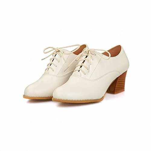 Shoes Fashion Mid Shine Heel Oxfords Chunky Women's Show White dWq06Sxwq
