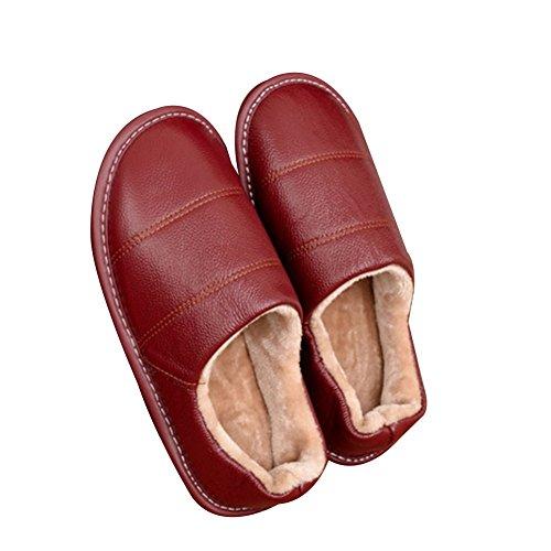 TELLW Leder Pantoffeln M?nner und Frauen Home rutschfeste warm Indoor Holzfu?b?den Comfort Home Baumwoll Pantoffeln Winter 6v5qtLc