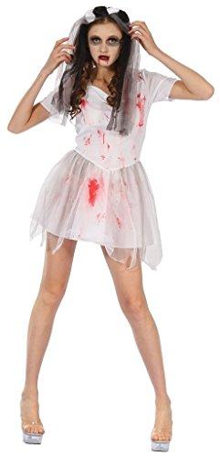 Rimi Hanger Womens Bloody Bride Costume Adults Zombie Halloween Fancy Dress Outfit -