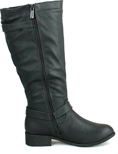 Anna Womens Juno-7 Fashion Buckle Side Zipper Combat Riding Knee High Flat Boot,Black,10