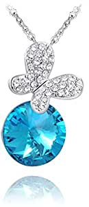butterfly n blue crystal pendant,fashionable necklace