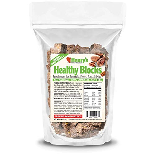 Henry's Adult Blocks, 11 Ounces - The Only Food for Squirrels, Flyers, Rats and Mice Baked Fresh to Order