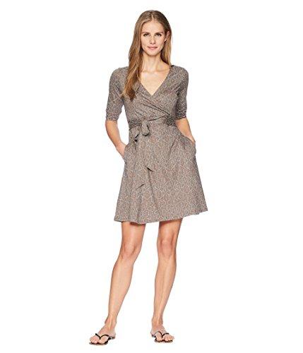 Toad&Co Women's Cue Wrap Café Dress, Falcon Brown Batik Dot Print, M