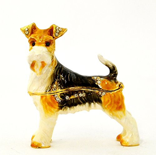 (Fox Terrier White & Brown Jeweled Swarovski Crystal Hand Painted Enamel Decorative Trinket Box L 3.00 X H 3.00 X W 1.00)