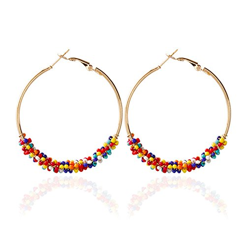 Dcfywl731 Bohemian Circle Colorful Beaded Earrings,CHUYUN Gold Plated Hoop Dangle Earrings for Girls (Colorful) ()