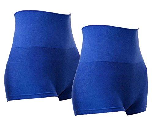 Ropa de Forma Pantalones Cortos Talle Alta de Compresíon para Mujeres de MD Moldeador Cuerpo Parte Atrás Trasera Azulx2