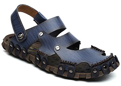 Eagsouni Men Leather Slip On Casual Slides Comfort Mule Sandals Shoes Size Blue 7tu30Br