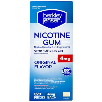 Berkley Jensen 4mg Uncoated Nicotine Gum, 320 ct. x2 AS by American Standart