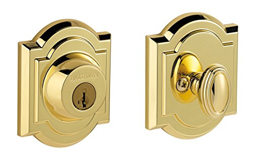Baldwin Prestige 380 Arched Single Cylinder Deadbolt Featuring SmartKey in Lifetime Polished Brass (Baldwin Locks Door Brass)